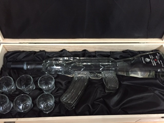 Russian Vodka AK47 in Wooden Box