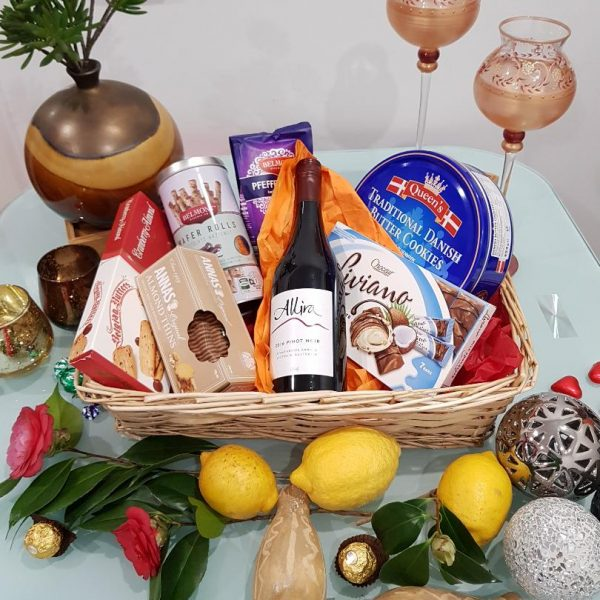 Red Magic Gift Hamper - Red Wine with Chocolates, Nuts, Cookies and Goodies