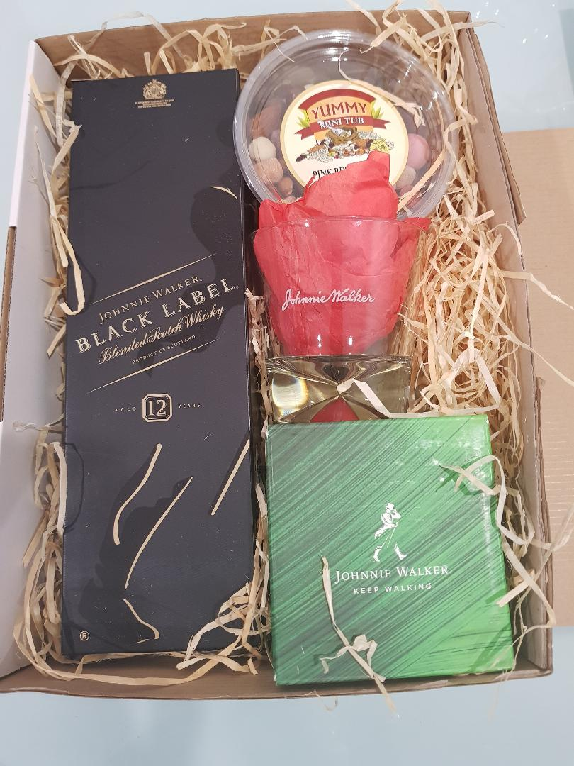 Black Magic Gift Box - Johnnie Walker Black Label with 2 Glasses, Chocolates and Nuts