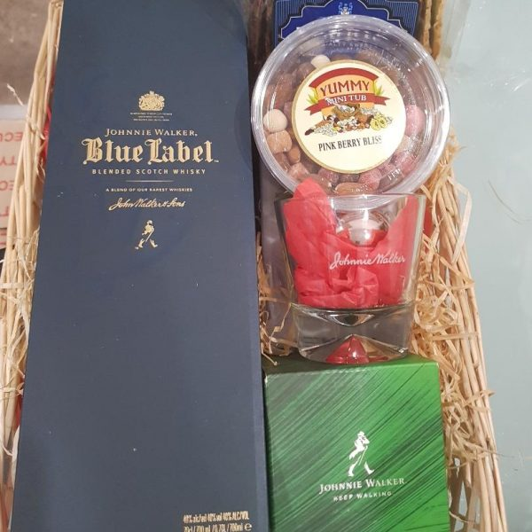 Blue Lagoon Gift Box - Johnnie Walker Blue Label with whisky Glass, Chocolates and Nuts
