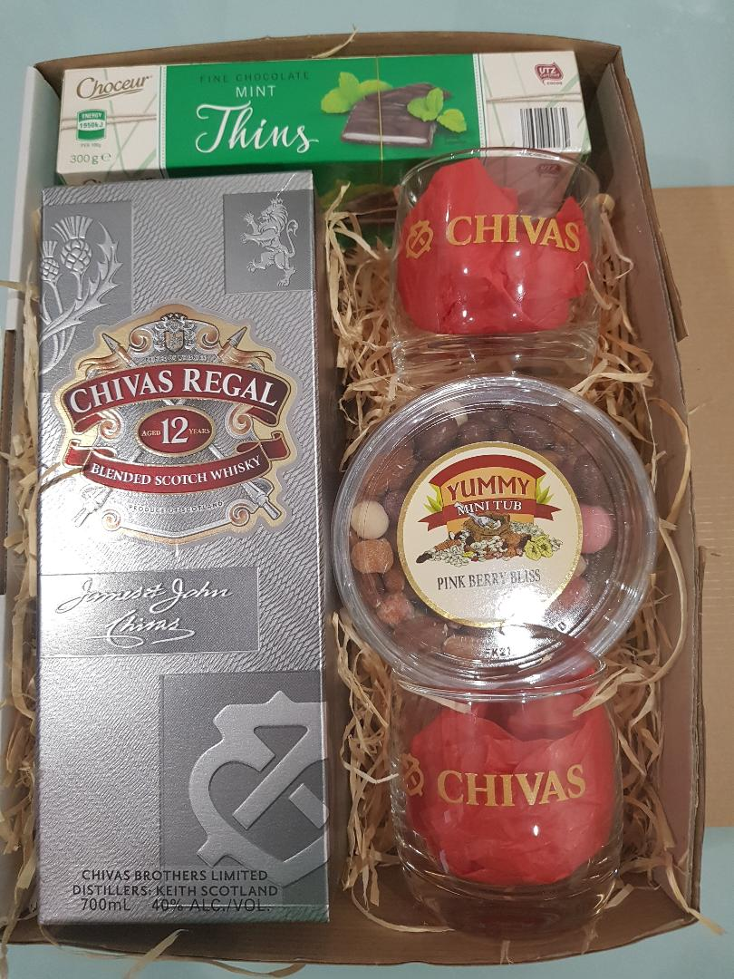 Royal Chivas Greetings Gift Box - Chivas with 2 Glasses, Chocolates and Nuts
