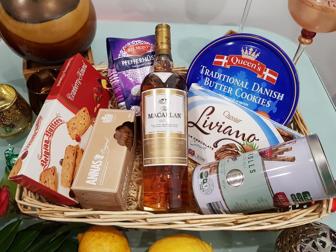 Macallan Gold Hamper - Macallan Gold Whisky with Cookies, Chocolates and Goodies