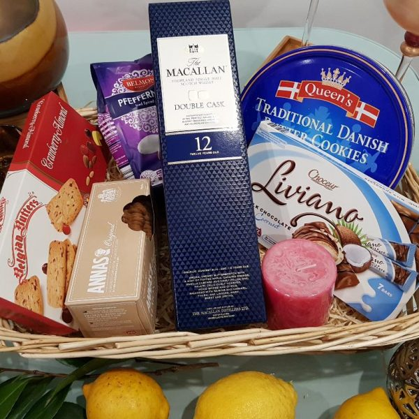 Macallan Classic Hamper - Macallan Double Cask Whisky with Cookies, Chocolates, Nuts and a candle