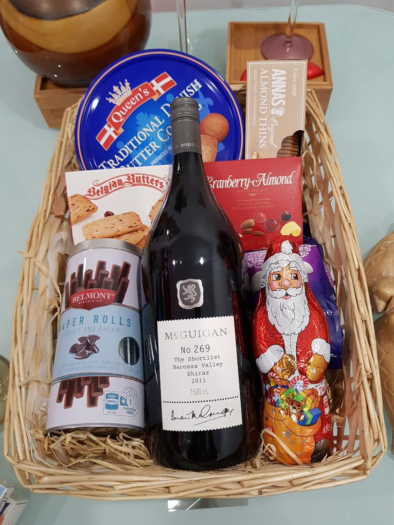 Premium Wishes Hamper - Mcguigan 1.5 Ltr premium Wine with chocolate and cookies