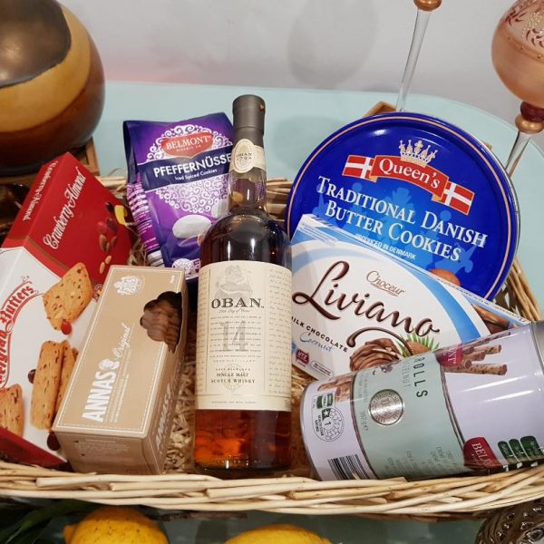 Rich & Classy Hamper - OBAN 14 YO Whisky with Cookies, Chocolates, Nuts
