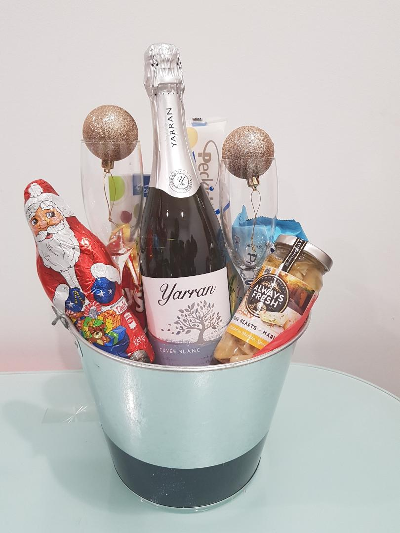 Bucket Full of Wishes - Sparkling Wine with 2 Flutes, chocolate and cookies in a tin bucket