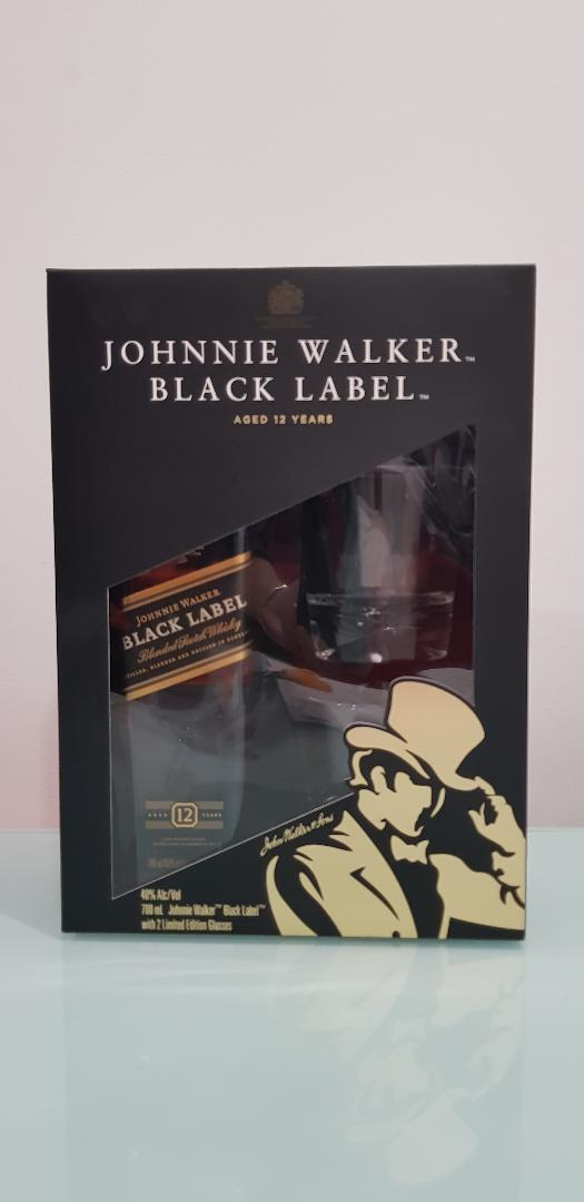 Johnnie Walker Black Gift Pack 700mL with 2 whisky glasses