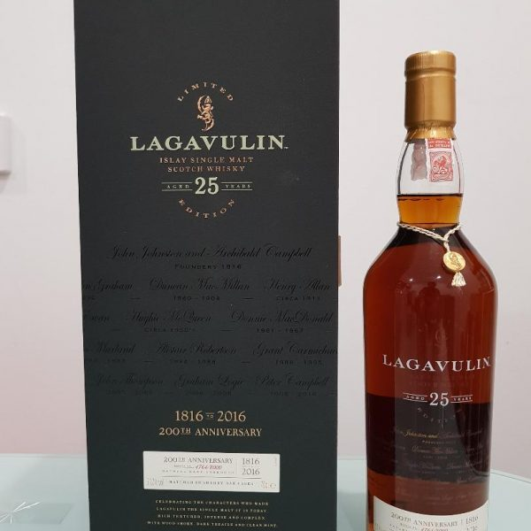 Lagavulin 25 Year Old 200th Anniversary Scotch Whisky 700mL @ 51.7 % abv